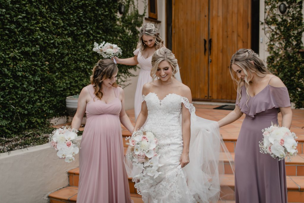 Bridal party preparation at Huntington Stables Retreat