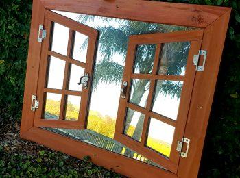 Double Shutter Mirror Window Tan