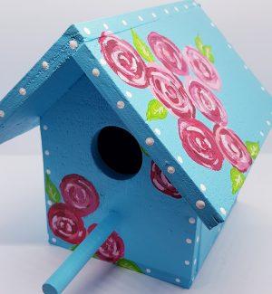 HAND PAINTED BIRD HOUSE BLUE