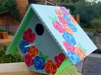 Large hand-painted Bird House with back door