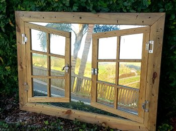 Rustic Mirror Window, Double Shutter