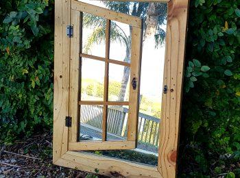 Rustic single shutter mirror window (2)